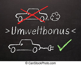 Electric Car Bonus, The word Environmental bonus in German on a blackboard