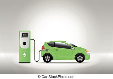 Electric car charging at charger service station with grey background. Hybrid Vehicle, Eco friendly auto or electric vehicle concept. Vector illustration.