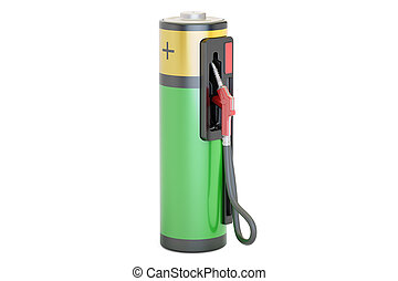 Electric car charging concept. Gas pump nozzle with battery, 3D rendering