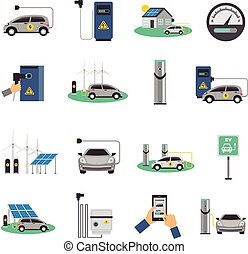 Electric Car Charging Flat Icons Set - Electric car charging...