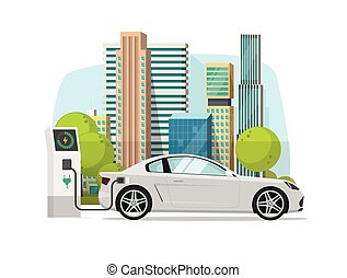 Electric car charging from charger station near city vector illustration, concept of eco city with modern automobile, flat cartoon