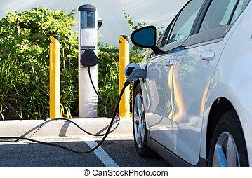 Electric car charging - An electric car charging in...