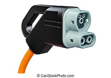 Electric Car Charging Plug closeup, 3D rendering