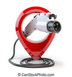 Electric car charging point location. Car charger power plug with pin isolated on white.