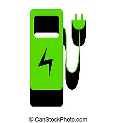 Electric car charging station sign. Vector. Green 3d icon ...