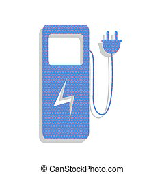 Electric car charging station sign. Vector. Neon blue icon with