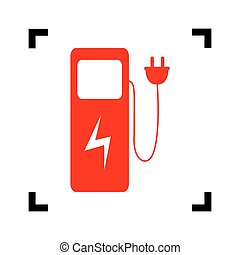 Electric car charging station sign. Vector. Red icon inside black focus corners on white background. Isolated.