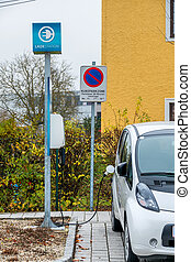 electric car charging station to, symbol of ecology,...