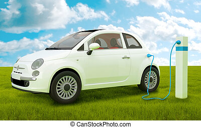 Electric car charging to energy column on green meadow