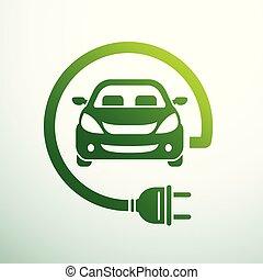 Electric car concept green drive symbol, vector illustration