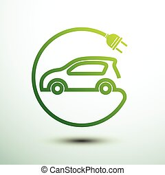 Electric car concept green drive symbol,vector illustration