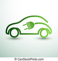 Electric car concept green drive with battery symbol, vector...