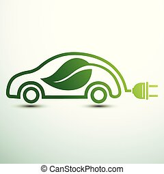 Electric car concept green drive with leaf symbol, vector illustration