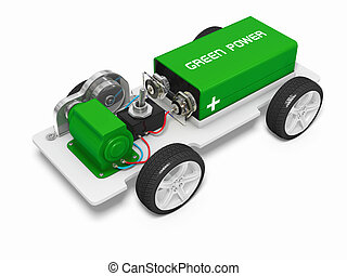 Electric car concept image with clipping paths