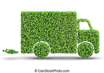 Electric car concept in green environment concept - 3d...