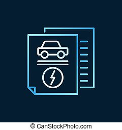 Electric car documents vector creative outline icon