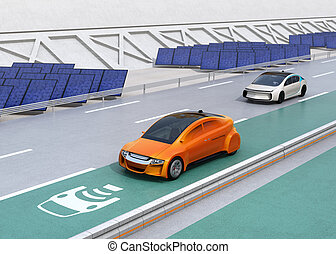 Electric car driving on the wireless charging lane of the...