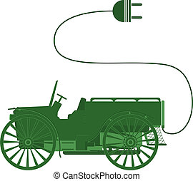 Electric car - Ecocar symbol classic, isolated objects on ...