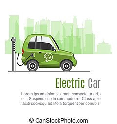 Electric car ecological electromobile in green city web vector template. Electric auto with battery powered e-car on urban landscape with eco green buildings.