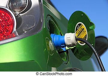 electric car - elecric car refuel with power