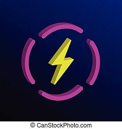 Electric Car flat icon illustration. Electro power vehicle symbol or charging station sign logo.
