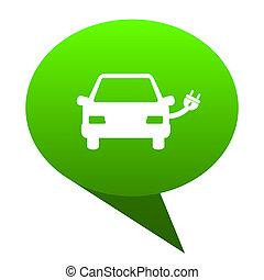 Electric car green bubble icon
