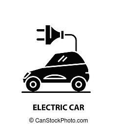 electric car icon, black vector sign with editable strokes, concept illustration