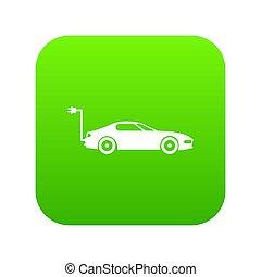 Electric car icon digital green