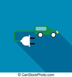 Electric car icon, flat style