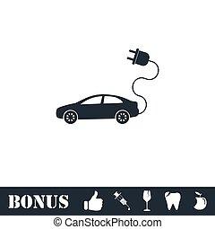 Electric car icon flat