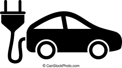 Electric car icon isolated on white background