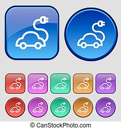 electric car Icon sign. A set of twelve vintage buttons for your design. Vector
