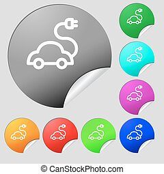 electric car Icon sign. Set of eight multi colored round buttons, stickers. Vector