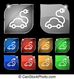 electric car Icon sign. Set of ten colorful buttons with glare. Vector