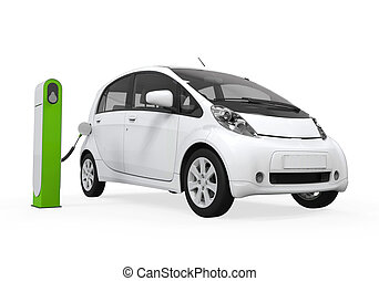 Electric Car in Charging Station isolated on white ...