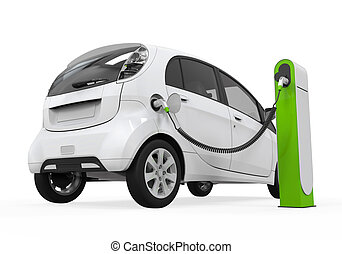 Electric Car in Charging Station isolated on white...