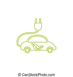 Electric car in refill icon, vector. Eco transportation....