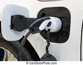 electric car is charging close up