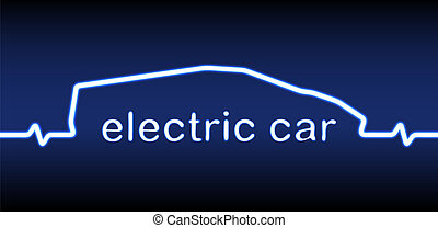 Electric car neon silhouette