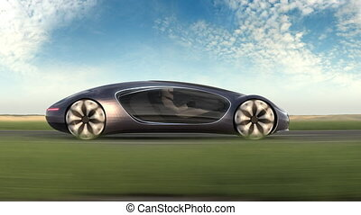 Electric car on road. Side view. ?oncept car of the future. 4k animation. High quality 4k footage