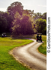 Electric car on the golf course, active leisure, quiet sport, recreation