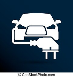 Electric car plug icon eco fuel vector