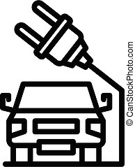 Electric car plug icon, outline style