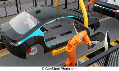 Electric car seat assembly line. 3D rendering animation