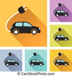 electric car set icons