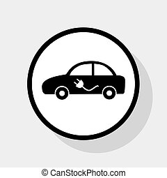 Electric car sign. Vector. Flat black icon in white circle...