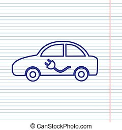 Electric car sign. Vector. Navy line icon on notebook paper as background with red line for field.