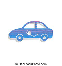 Electric car sign. Vector. Neon blue icon with cyclamen polka do