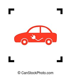 Electric car sign. Vector. Red icon inside black focus corners on white background. Isolated.