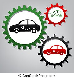 Electric car sign. Vector. Three connected gears with icons at g